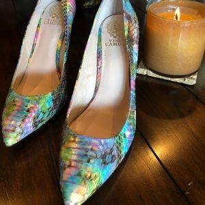 Vince Camuto Leather Pastel Rainbow High Heel